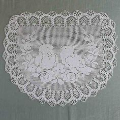 Picture of Vintage Filet Crochet Pattern Chair Back&Oval Doily Birds&Roses