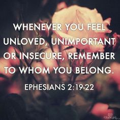 Instagram media by godiswithinher - Whenever you feel unloved, unimportant or insecure, remember to whom you belong. Ephesians 2: 19:22  In today's society we face so many challenges that can lead us to believe we are unloved, unimportant and insecure! The media pushes perfection, materialism and sexuality on young people which easily makes us feel insecure...remember to whom you belong! Your lord and savior loves you and created you exactly the way he wanted you to be- YOU ARE PERFECT IN…