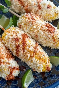 Elote recipe – authentic Mexican corn on the cob with mayo, cotija cheese, lime and chili! Perfect side dish when grilling out! #mexicanfood #recetas #summerrecipes
