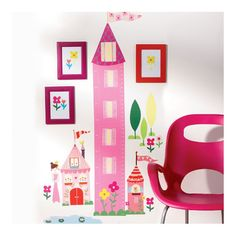 Princess Growth Height Chart Wall Stickers. Princess themed bedroom accessories for young girls. Decoration ideas for kids.