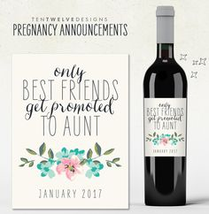 Printable  Pregnancy Announcement Wine Label  Best Sisters