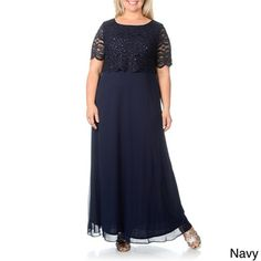 R & M Richards Women's Plus Size Lace Pop-over Gown | Overstock.com Shopping - Top Rated R & M Richards Dresses