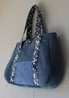 Denim Handbag with Front Pocket, Fabric Button Closure and Lined with Soft Blue Polka-Doted Themed Printed Fabric by AllintheJeans on Etsy