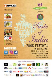 Akshar Pavilion TASTE of INDIA Food Festival at Nathan Phillips Square on Saturday August 5 2017 from 12 Noon till 10:00 pm     In collaboration with Young Canadan Alliance  School of Flavours celebrates CANADA 150 and presents Akshar Pavilion TASTE OF INDIA food festival   on August 5 2017 at Nathan Phillips Square 100 Queen St W Toronto M5H 2N2 from 12:00 Noon to 10:00 pm.   FREE family-friendly and an outdoor event perfect for this summer with more than 50 vendors attracting over 10000 in…