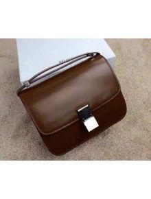 Celine Spazzolato Glossy Calfskin Classic Medium Box Bag Chocolate