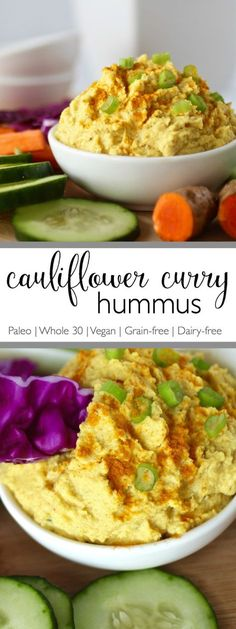 A recipe inspired by a favorite curry flavored hummus. This Cauliflower Curry Hummus is bean-free, whole-30 friendly and perfect for dipping veggies into.   Paleo   Whole 30   Vegan   Grain-free   simplynourishedre...