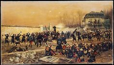 """""""The Defense of Champigny"""" by Édouard Detaille (1879) at the Metropolitan Museum of Art, New York - From the curators' comments: """"In this battle picture, shown in the Salon of 1879, Détaille depicts an incident that he had observed on December 2, 1870, during the Franco-Prussian War. General Faron's soldiers are shown fortifying their new position at the town of Champigny-sur-Marne, near Paris, and breaking openings in the wall for cannons."""""""