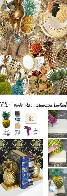 P.S. - I made this...Pineapple Bookends with @prettylifegirls #PSIMADETHIS #DIY