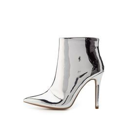 Qupid Metallic Ankle Booties ($25) ❤ liked on Polyvore featuring shoes, boots, ankle booties, silver, patent leather booties, pointed toe booties, patent boots, synthetic boots and faux patent leather boots
