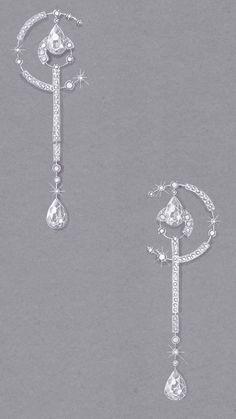 Gouache sur papier mi teinte Boucle d'oreille collection NATASHA par Ylana AZOULAY