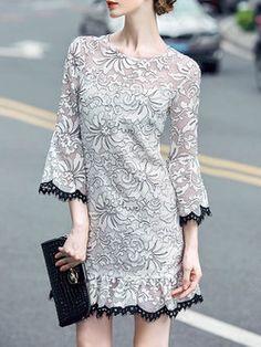 White 3/4 Sleeve V Neck Mini Dress