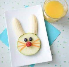 Cute easter bunny fruit breakfast