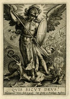 St Michael triumphing over the dragon; St Michael, holding a spear and a shield, seen standing on a dragon, piercing his mouth with the spear; behind, to right, the war in heaven between angels and demons. Engraving Producer namePrint made by: Hieronymus Wierix School/styleNetherlandish Date1619