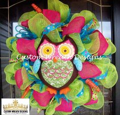 Lime and Pink Owl Wreath by lilmaddydesigns on Etsy. Maybe Maria could make this