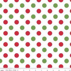 Riley Blake Fabric Christmas Medium Dots Polka by BellaFabrics, $9.00