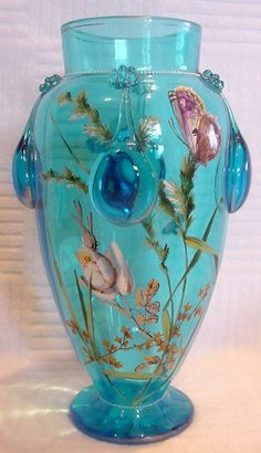 Bohemian Moser Blue Art Glass Vase Enameled Butterflies Flowers c 1910 from darcysantiquetreasures on Ruby Lane