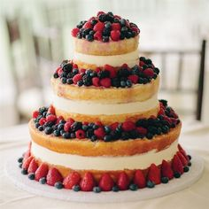Wow! Three-Tier Fruit Cake--use local, seasonal berries for summer wedding