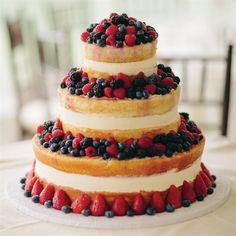 Three-Tier Fruit Cake--use local, seasonal berries for summer wedding