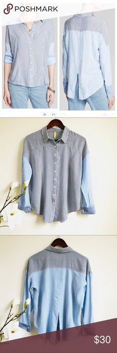 """Free people Capetown button down shirt Free people blue and grey striped shirt in excellent shape! Features drop shoulder style, relax fit, slit on back, soft rayon fabric, no flaws! Length: 27"""", pit to pit: 22.5"""". Free People Tops Button Down Shirts"""
