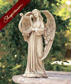 Marvelous Angel With Harp Indoor/Outdoor Garden Yard Statue