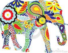 Silueta de un elefante con diseños indios
