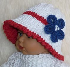 Knitted White Red and Blue Cotton Sun Hat - Knitting