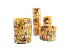 iO Vase Set. The iO takes its cues from the intricate hand-work of mosaics. Inspired by the modernist painter Gustav Klimt. One of each of our four sizes is included in the set. The small and tall styles will compliment any floral arrangement. The bowl and bucket versions make great vessels for household knick knacks, are perfect as planters, and can even add vibrance as your bathroom wastebasket.