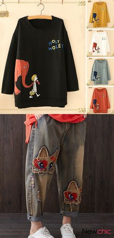 O-neck cartoon print long sleeve casual Sweatshirts and Spring pants for women. Up to off! Shop now! spring outfit ideas O-neck cartoon print long sleeve casual Sweatshirts and Spring pants for women. Up to off! Shop now! Fall Fashion Outfits, Mode Outfits, Look Fashion, Spring Outfits, Casual Outfits, Womens Fashion, Sewing Shirts, Cute Blouses, Blouse Vintage