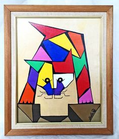 """Signed """"Sheila D """", lower right, and handwritten on reverse Sheila Dobrushin"""". Yarn Painting, Oil Painting Abstract, Painting & Drawing, Cubist Paintings, Original Paintings, Abstract Art For Kids, Geometric Wall Art, Retro Pop, Cat Art"""