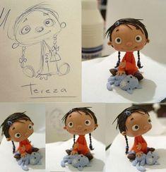 fernanda valverde I LOVE HER! She& kinda like my This Girl girl. but cuter. Polymer Clay Kunst, Polymer Clay Dolls, Polymer Clay Creations, Clay Projects, Clay Crafts, Ooak Dolls, Art Dolls, Crea Fimo, Clay Figures