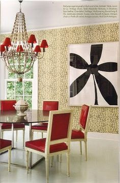 Big Floral (framed) with red dining and wallpaper. Design by Miles Redd as seen in Veranda