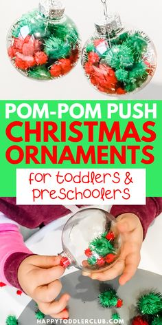 Looking to make some easy DIY Christmas Ornaments with your toddler? These fun pom-pom ornaments provide fine motor practice while making simple Christmas ornaments! This easy DIY ornament activity is perfect for toddlers and preschoolers. Christmas Activities For Toddlers, Winter Crafts For Kids, Preschool Christmas, Craft For Christmas For Kids, Preschool Winter, Diy Gifts For Kids, Toddler Preschool, Easy Christmas Ornaments, Christmas Fun