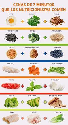 7 Recetas de cenas ligeras y rápidas para adelgazar. #recetas #infografia #adelgazar