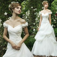 Pretty Sleeveless with Dropped waist wedding dress