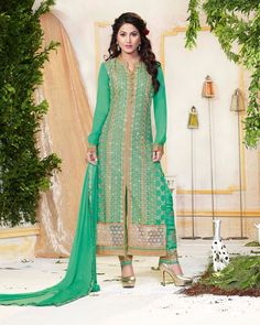 Hina Khan Green Georgette Kameez With Pant 61440