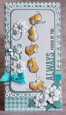 handmade card ... super cute Penny Black mice image ... luv almost every card Debbie creates & this one is no exception ... exquisite coloring of the mice ... tall and thin card ... like the punched flowers ...