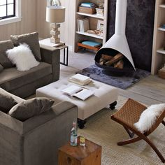 """Nice canvas upholstered ottoman -- 36"""" square. From west elm."""