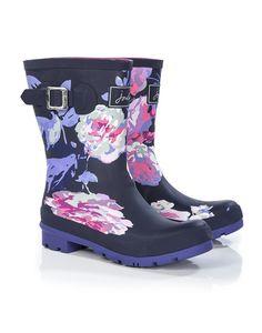Joules Pretty Kitty Ditsy Girls Light Blue Wellington Boot