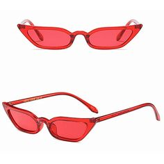 1d1f574dce5 Forthery Cat Eye Sunglasses Goggles Vintage Mod Style Retro Small Frame  Eyeglasses UV400 (Red)