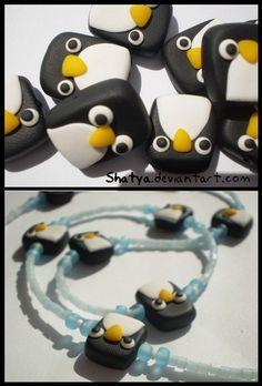 Fimo penguin necklace