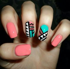 Tribal nails colors salmon green coral - uñas verde ♛