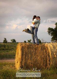 Hay bale engagement photo
