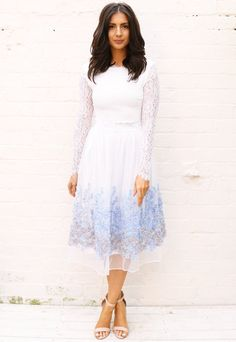 Tulle Midi Skirt with Applique 3D Flowers in White & Blue
