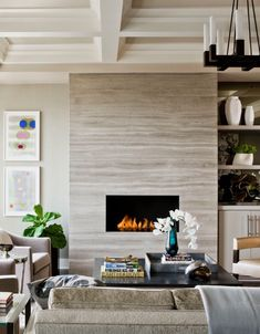 Wood Fireplace Surrounds Home In Living Room Transitional With Boyd  Lighting Ann Sacks