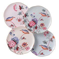 """Wedgewood """"Cuckoo"""" Tea Story Tea Plates, Set of 4"""