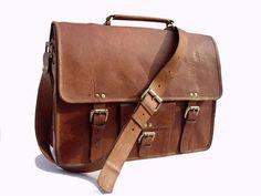 Leather Messenger Bag / Satchel - Vintage Retro Looking - (Large)