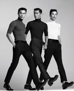 Zhao Lei, Daisuke Ueda & Kim Won Joong | L'Officiel Hommes Korea August 2012 issue.