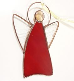 Stained Glass Suncatcher Angel inch tall, red and clear color glass, copper color metal, handmade Stained Glass Angel, Stained Glass Ornaments, Stained Glass Suncatchers, Stained Glass Patterns, How To Make Ornaments, Holiday Ornaments, Copper Color, Red Color, Glass Art