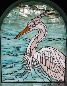 Residential stained glass window of a heron Stained Glass Studio, Stained Glass Window Film, Stained Glass Ornaments, Custom Stained Glass, Stained Glass Birds, Stained Glass Designs, Stained Glass Panels, Stained Glass Projects, Stained Glass Patterns
