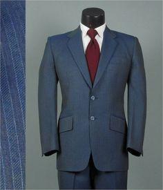 Vintage Mens Suit 1990s TEAL BLUE PINSTRIPED Wool by jauntyrooster, $140.00